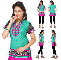Women Casual Indian Short Kurti Tunic Short Sleeves Kurta Top Shirt Dress 106A