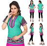 Women Casual Indian Short Kurti Tunic Short Sleeves Kurta Top Shirt Dress 106A