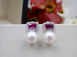 Beautiful natural 9-10MM AAA south sea white pearl earrings Fine Silver