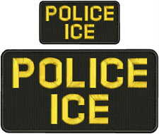 POLICE ICE embroidery patch 5X10 and 2.50x5  hook on back blk/gold