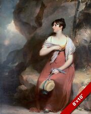 YOUNG WOMAN GIRL IN DRESS IN A HARSH LANDSCAPE PAINTING ART REAL CANVAS PRINT
