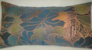 """Teal Woven Fabric Lumbar Accent Decorative Throw Pillow Cover 11""""x 20"""""""