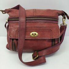 Fossil Brown Tan Leather Crossbody Zippers Multi Pocket Large Handbag