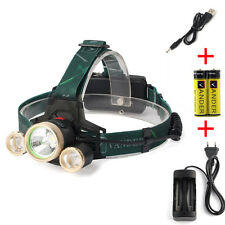 2x 6000MAH Batterie + EU-Ladegerät  +8000LM T6 LED Zoomable Stirnlampe Headligh