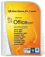 Microsoft Office 2007  for Windows 10 ,7 & 8 Word Excel PowerPoint Etc. 3 User