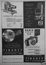 PUBLICITÉ 1954 TIRANTY PROJECTEUR AGRANDISSEUR APPAREIL PHOTO BANCO- ADVERTISING