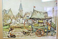 Gold Framed Art Print, Anton Pieck, Monnickendam Holland Girl Dog Village Danish