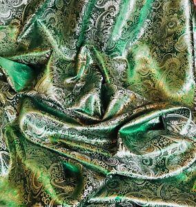 "1 Meter Emerald Green Paisley Metallic Brocade Fabric 58"" Wide dress Upholstery"