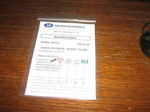 5 ASSORTED SIGNS - signs on posts ready to use  00 scale - PACK 1
