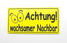 Achtung wachsamer Nachbar,20 x 10 cm,Gravurschild,Acryl,Gelb,Wetterfest,Alarm,