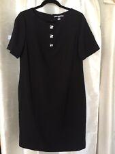 Karl Lagerfeld PARIS Designer Black Crepe Shift Dress 8 Special Square Buttons
