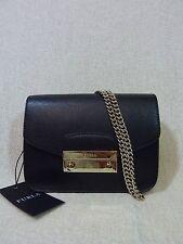 NWT FURLA Onyx Black Saffiano Leather Mini Julia Chain Cross body Bag $328