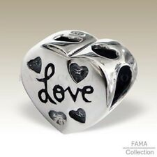 Authentic FAMA 925 Sterling Silver Love Heart Bead Fits European Charm Bracelet