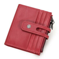 Women's Slim Genuine Leather Wallet RFID Blocking Card Holder Front Pocket Purse
