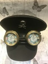 Sombrero de Algodón Negro Militar, Metal Cráneo y rústico hecho a mano Gafas 57/58
