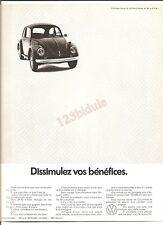 Vw Coccinelle Cox Publicité Advertising Vintage Années 70' AD