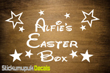 Easter Box Personalised Vinyl Name Sticker Decal, Kids gift Disney style