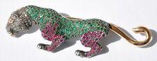 VINTAGE 14KT TIGER BROOCH 4 CARAT EMERALD RUBY DIAMONDS  !!!