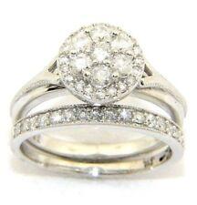 da donna 9 carati oro bianco pietre MONTATE fino a metà Anello/fidanzamento