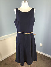 Evan Picone Navy Blue Woven Fit Flare Dress Belt Excellent Career Cocktail 14 XL