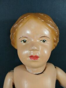 """14"""" Antique Schoenhut Doll Carved Wood Hair Bow Intaglio Incised"""