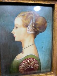Vintage Signed Portrait Of Victorian Female Side View Oil Painting