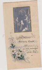 IMAGE PIEUSE HOLY CARD SANTINI/JESUS-MARIE communiant/FLEURS peintes à la main.