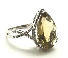 Sterling Silver 925 Pear Yellow Citrine CZ Halo Swirl Curve Band Cocktail Ring 7