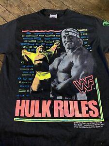 VINTAGE 1990 WWF HULK HOGAN HULK RULES T SHIRT ELITE FIGURE RETRO WWE WCW NWO