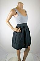 O'Neill Tank Dress Size M Gray Bodice Faux Tiered Black Skirt Tie Scoop Neck