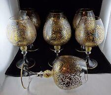 7 Murano Italian Studio Art Glass Large Balloon Goblets - Embossed Vines, Gold