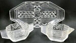 Art Deco Depression Glass Creamer & Sugar Set Octagonal with Engraved Flowers