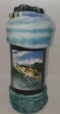 New Dragon Fly & Fish Soft Plush Throw Blanket 50 x 60 Water Sky Blue Black Trim