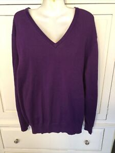 Men's Lands End V-Neck Pullover Sweater Cotton Purple Size Large New