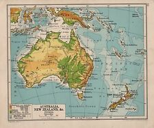 1928 MAP ~ AUSTRALIA & NEW ZEALAND ~ NEW GUINEA PHYSICAL
