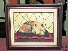 Framed Oil on Canvas Painting Terrier Dog