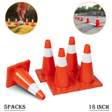 """New listing 5Pcs Traffic Cones 18"""" Orange Fluorescent Reflective Road Safety Parking Cones"""