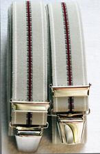 Schlichte Hosenträger extra stark extra lang 4 stabile Clip waschbar 40°grau