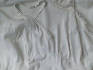 Vintage Sears White ANKLE LENGTH  Nylon Full Slip Adjustable Straps 36 Wedding