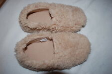 Womens BEIGE SLIPPERS Rubber Sole SUPER SOFT & FUZZY Thick Cushion Insole S 5-6