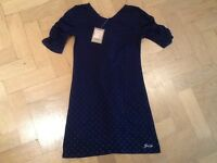 NWT Juicy Couture New & Genuine Blue Cotton Blend Dress Girls Age 8 With Logo