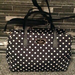 Kate Spade New York Black Polk Dot Nylon Tote Satchel Handbag Shoulder bag Purse