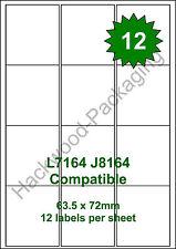 12 Labels per Sheet x 25 Sheets L7164 / J8164 White Matt Copier Inkjet Laser