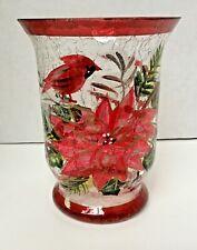"Yankee Candle Christmas Holiday 6"" Cardinal Crackle Glass Hurricane Pillar Bird"