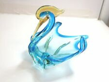"VINTAGE MURANO ART GLASS BIRD BOWL SCULPTURE 7 1/2"" TALL / UNMARKED n2"