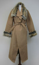 Boohoo Mya Faux Fur Collar and Cuff Coat - Womens Medium - Camel - NWT
