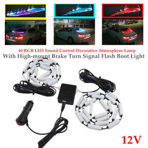 Auto RGB LED Sound Control Decorative Lamp W/Brake Turn Signal Flash Boot Light
