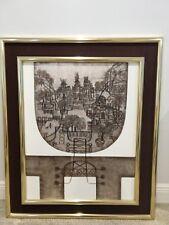 """Chinese American Heshi Yu original painting modernist city scene 24x30"""""""