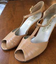Vintage 1970's Salvatore Ferragamo Leather Peeptoe Heels, Size 8, Made in Italy