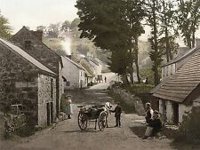 "Beautiful Canvas home decor, 24""x18"" - An Irish village, Horse Carriage, vintage"
